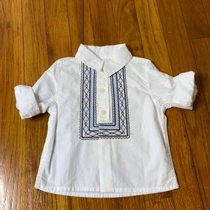 Baby Gap Embroidered White Collared Long Sleeve